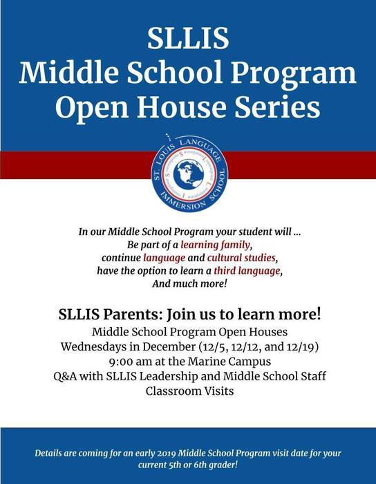 Middle School Program Open House Flyer
