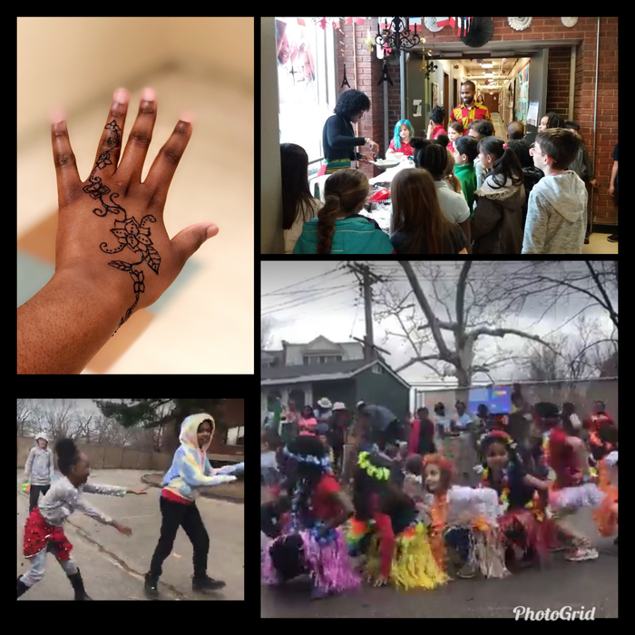 Cultural immersion: Crêpes demo, kinders parade, henna, dance