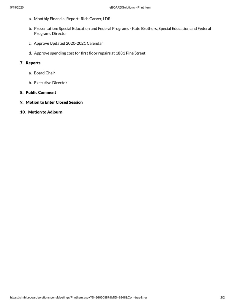 Board of Directors Agenda May 2020