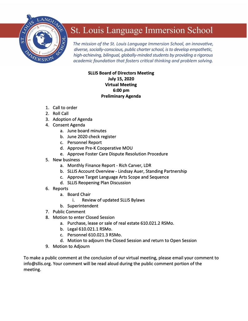 7.15.20 SLLIS Board of Directors Meeting Agenda